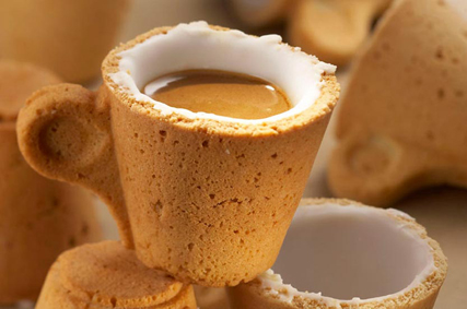 Lavazza espresso cup made of cookie