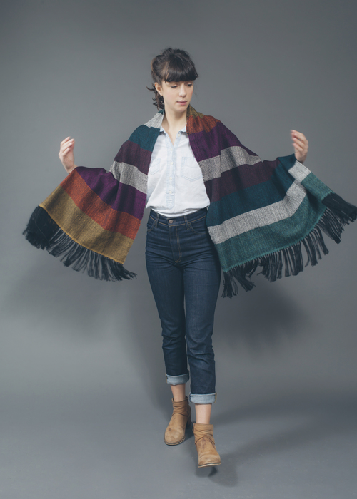 Rainbow Blanket Shawl, $260 USD - Hand woven by artisans in Peru from a blend of alpaca, wool, and acrylic.