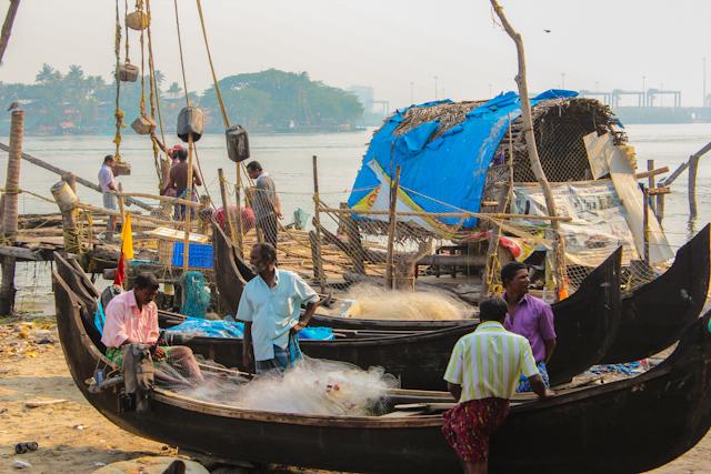 fort cochin, Kerala, India fishermen