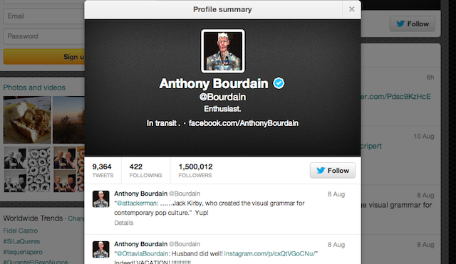 Anthony Bourdain Twitter