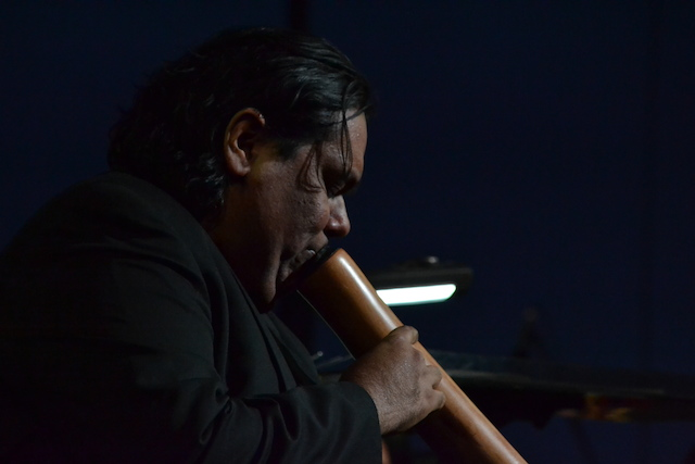 : Improvisational specialist William Barton plays the deep  drone tones of the didgeridoo at Symphony at Uluru.