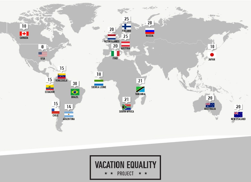 Paid Vacation Days World Map
