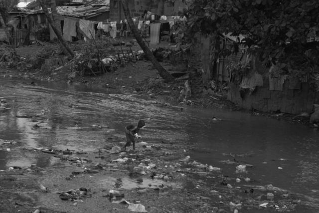 a young boy searches through floating trash in a river in a Freetown slum