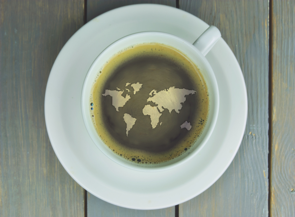 Coffee Cup Map Photo via Shutterstock