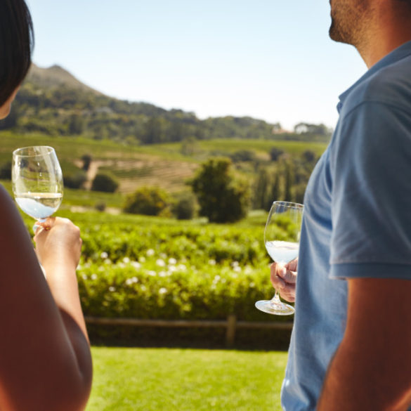 couple holding wine glasses looking out at winery