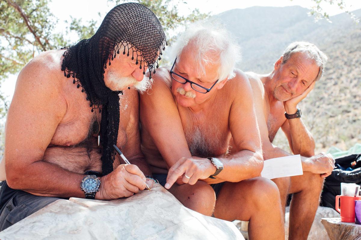 men in the white mountains of crete